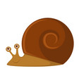 snail with big brown shell and friendly face vector image