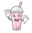 waving raspberry bubble tea character cartoon vector image vector image
