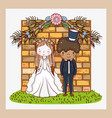 woman and man with brick wall and flowers plants vector image vector image