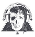 womans head with half face skull engraved vector image