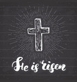 vintage label hand drawn christian cross with vector image