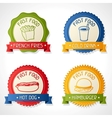 Set of badges with burger hot dog french-fry and vector image
