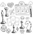 drawn symbols of gambling games vector image