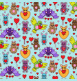 animal toys with heart seamless pattern vector image vector image
