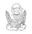 beautiful mermaid with treasure chest in clouds vector image vector image