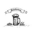 beer glass mug oktoberfest festival sketch banner vector image vector image