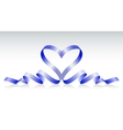 Blue ribbon in the form of heart vector image vector image