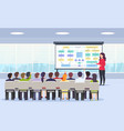 business person teaches a lecture on business vector image vector image