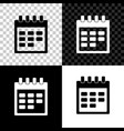 calendar icon isolated on black white and vector image