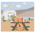 cartoon outdoor camping in desert vector image