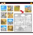 cartoon safari animals jigsaw puzzle vector image vector image