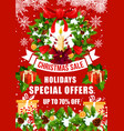 christmas sale offer poster with xmas gift wreath vector image vector image