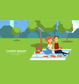 city park couple sitting picnic eating on green vector image vector image