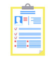 clipboard consisting information on person photo vector image vector image