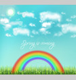 colorful rainbow on sky background vector image