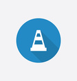 construction cone Flat Blue Simple Icon with long vector image vector image