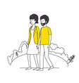 couple lovers with yellow clothes walking in the vector image