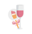 cup champagne and decoration with cupcake vector image vector image