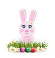 cute cartoon pink rabbit sitting among bright vector image