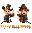 cute little witch boy and girl flying on broomstic vector image vector image
