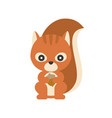 cute squirrel holding acorn flat design character vector image