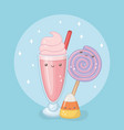 Delicious and sweet milkshake and products kawaii