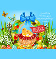 easter basket with eggs and chickens greeting card vector image vector image