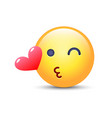 emoticon face throwing a kiss winking smiley with vector image vector image