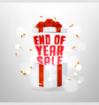 end year sale banner with opened gift box vector image vector image