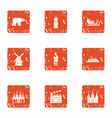 film decoration icons set grunge style vector image