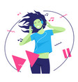 flat style a pretty smiling vector image