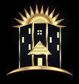 gold modern house building icon vector image vector image