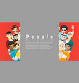 group multi ethnic men standing behind board vector image vector image