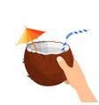 half coconut in hand vector image vector image