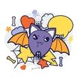 Halloween kawaii print or card with cute doodle vector image vector image