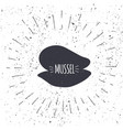 hand drawn mussel icon logo in black and white vector image vector image