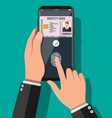 hand with smartphone with id card application vector image vector image