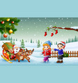 happy kids and santa claus with elf riding on a sl vector image vector image
