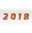 happy new year 2018 sketch different colors vector image