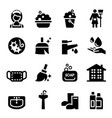 housekeeper cleaning icons set vector image