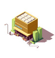 isometric museum building vector image vector image