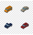 isometric transport set of autobus auto suv and vector image vector image