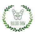 Logo with french bulldog and twigs Nanoline style vector image vector image