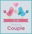 Love birds on a banner wedding card vector image vector image