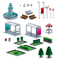 Objects of the city isolated isometric set vector image vector image