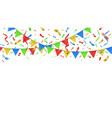 party confetti and color flags celebration vector image
