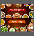 philippine and indian cuisine asian food vector image vector image