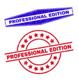 professional edition rubber badges in round vector image vector image