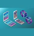 realistic digital devices in isometry vector image vector image