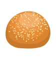 Round bread bun with sesame seeds icon vector image vector image